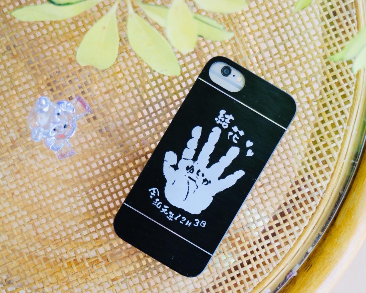赤ちゃん手形iphoneカバーアルミニウム製♪
