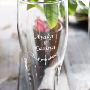 グラスの底から感謝の贈る言葉が見えてくる~名入れビアグラス(^^♪